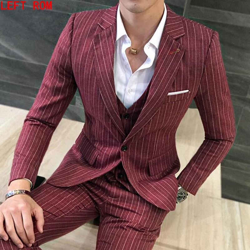 2017 Autumn New Suits Suit Male Korean Version of the Frilly Striped Suit Three Sets of Groom Comrades Dress jacket+vest+pants haisile 2015 new swimsuit korean spa small chest steel holder bikini three sets of 1525