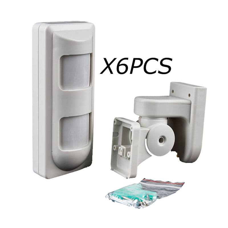 6pcs/lot Wired IP65 Waterproof Outdoor 2PIR+Microwave Complex Alarm Motion Sensor for Wired Home Intruder Alarm Systems
