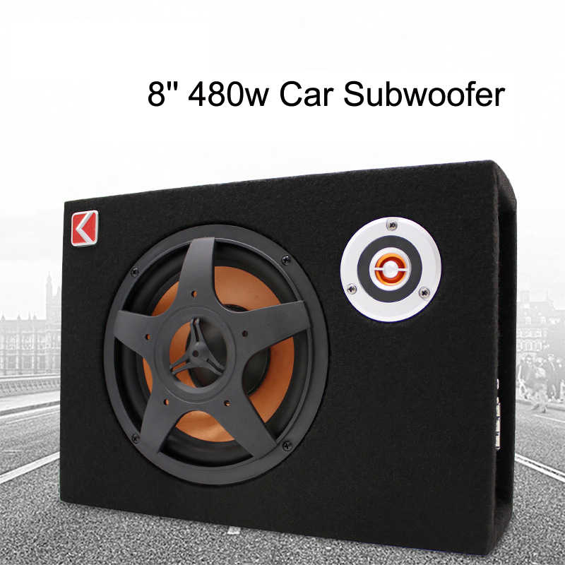 8'' Car Subwoofer Slim Under Seat Speaker 480w 12V Car Audio Sub Woofe Bass 8 inch Active Subwoofer W/ Amplifier Speaker Tweeter