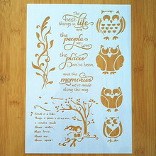 A4 Size DIY Craft Owl Design Stencil Template For Wall Painting Scrapbooking Stamping Album Decorative Embossing Cards