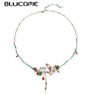 Image 2 - Blucome renkli çiçek kuşlar şekil emaye kabuk gerdanlık kolye küçük boncuklar takı kadınlar için kız elbise parti aksesuarları