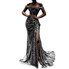 Adogirl Slash Neck Maxi Dress Gathering Sequined Evening Party Dress High Split Pleated Banquet Night Dress Full Length Vestidos applique pleated night dress