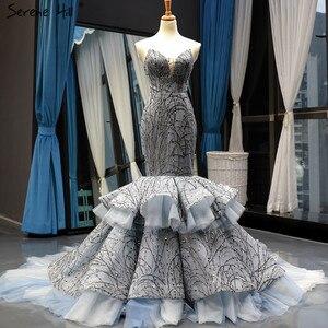 Image 5 - Robe de mariée luxueuse et Sexy gris foncé avec paillettes, modèle sirène, sur mesure, modèle dubaï, modèle 2020