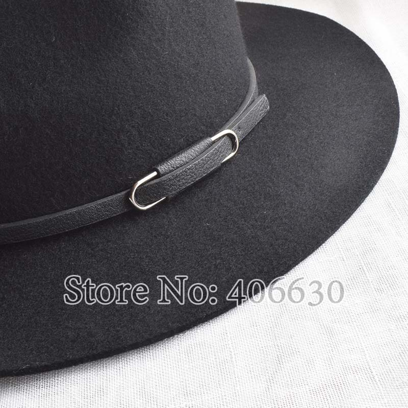 Winter Leather Band Women Wide Brim Wool Felt Fedora Hats Chapeu Feminino Free Shipping SADW011 in Men 39 s Fedoras from Apparel Accessories