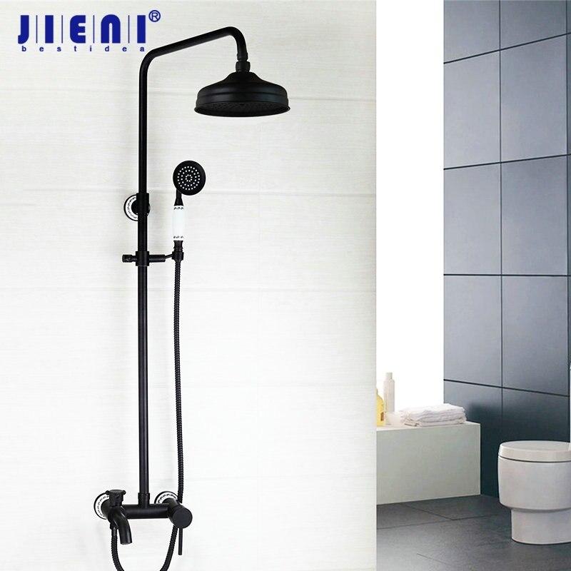 Black 8 Rain Shower Head ORB Valve Hand Spray Hose Oil Rubbed Bronze Bathtub Basin Sink Shower Set Torneira Tap Mixer Faucet
