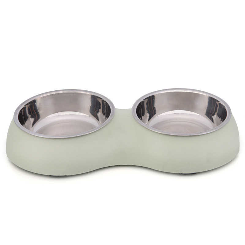 Rosa de aço inoxidável antiderrapante pet tigelas comida para cães tigela dupla pet cat alimentador suprimentos