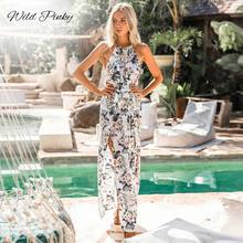 WildPinky Bohemian Style Womens Long Dress Summer Print Maxi Evening Party Beach Floral Halter Tank Split Vestidos Femme