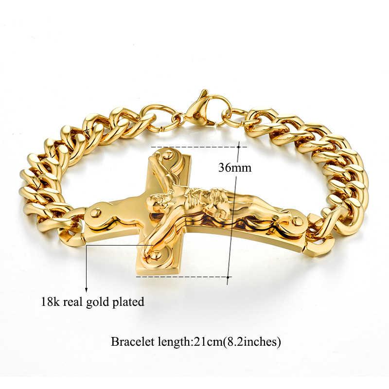 Męskie bransoletki ze stali nierdzewnej łańcuch kubański krucyfiks biżuteria złoty kolor bransoletka dla człowiek jezus krzyż bransoletka