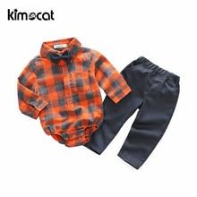цена на Kimocat Baby Boy Clothes 2pcs Shirt+Pants Gentleman's Shirt Baby Plaid Clothing Set Bow Tie England Style Cotton Boys Suits