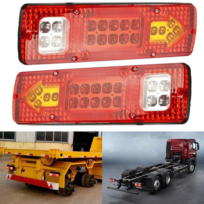 2pcs 12V 19 LED Truck Trailer Lorry Brake Stop Turn Rear Tail Light Indicator Trailer Lamp Taillight Car Lights