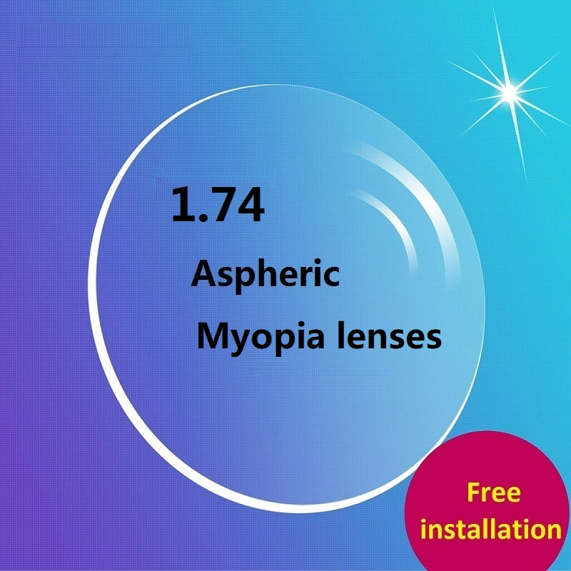 1 74 Aspherical Brand Ultra Thinnest CR 39 resin prescription lenses Green colored myopia glasses optical