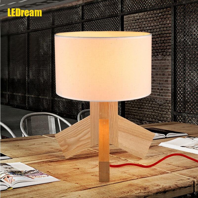 Creative fashion designer wooden bedroom berth lamp adornment personality cloth cover the study small desk lamp