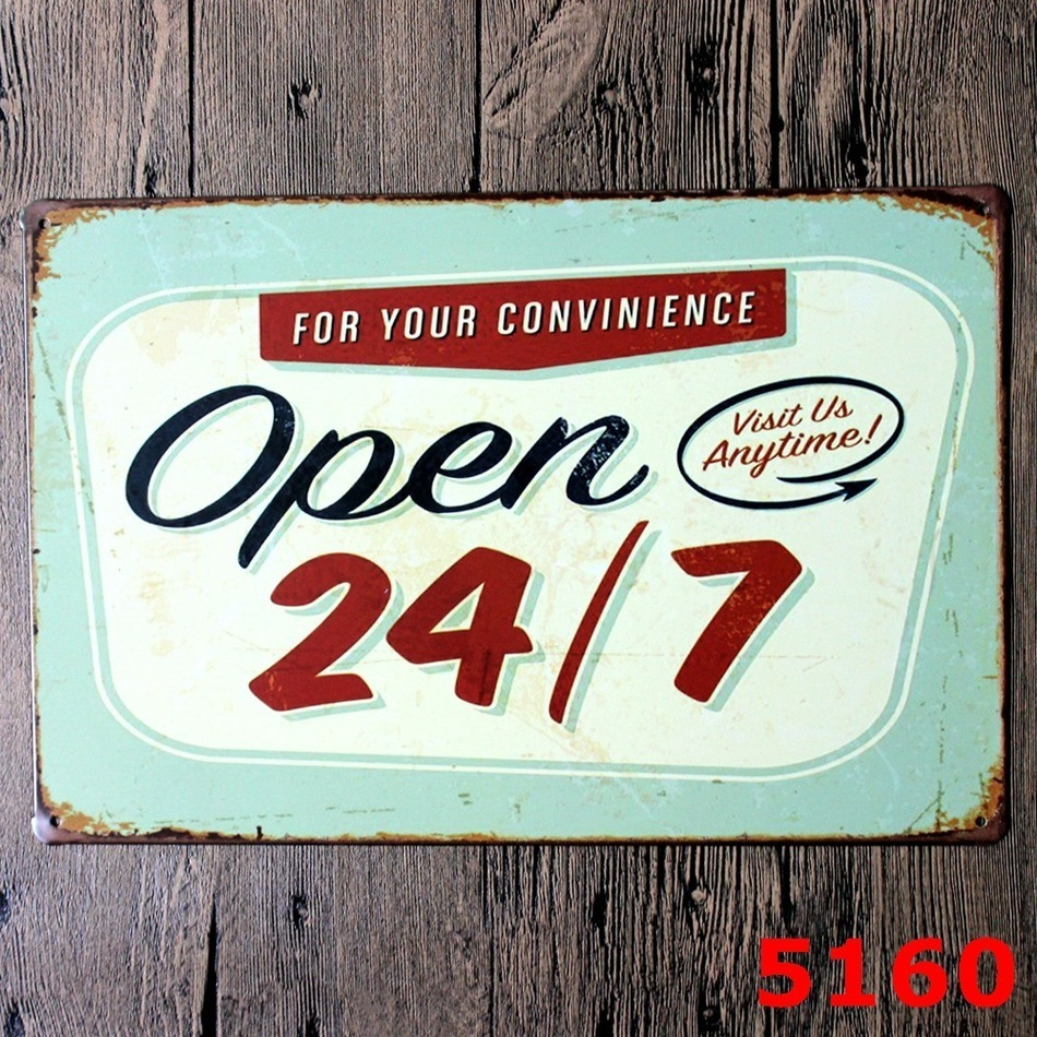 house decorations Open 24//7 tin metal sign