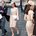 2014 Kate Middleton Simple Lace Knee-Length Celebrity Dresses with Sashes Long Sleeves Boat Neck Sheath Party Dresses