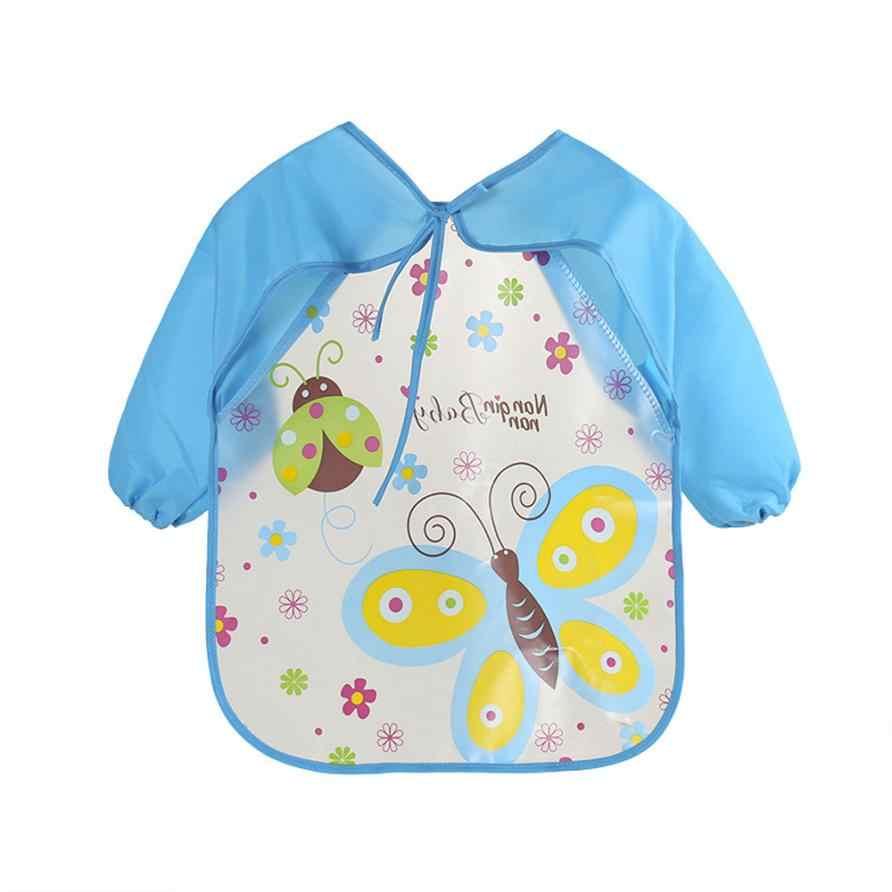 Baberos y Baberos para bebés, babero EVA impermeable de manga larga, dibujos animados para niños, accesorios de alimentación para bebés 18Jul8