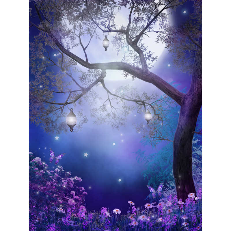 Dark Blue Old Treesmall Flowers Fairy Tale Computer Painted Beautiful Scenery Photography Background