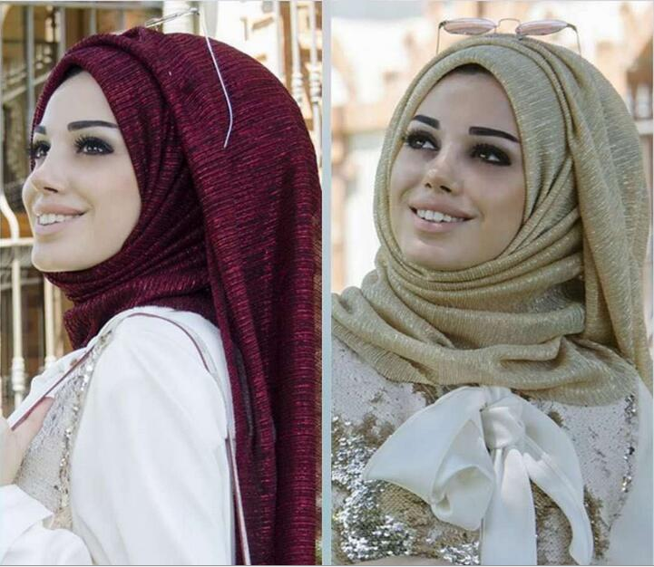 H1229 new style gold silver glitter muslim long scarf lurex scarf assorted colors fast delivery