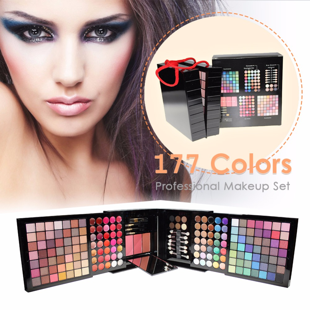 Professional 177 Color Matte Shimmer Eyeshadow Palette Blusher Contour Brushes with Mirror Lip Gloss Makeup Cosmetic Set #241805 магнитный браслет colantotte magtitan color palette