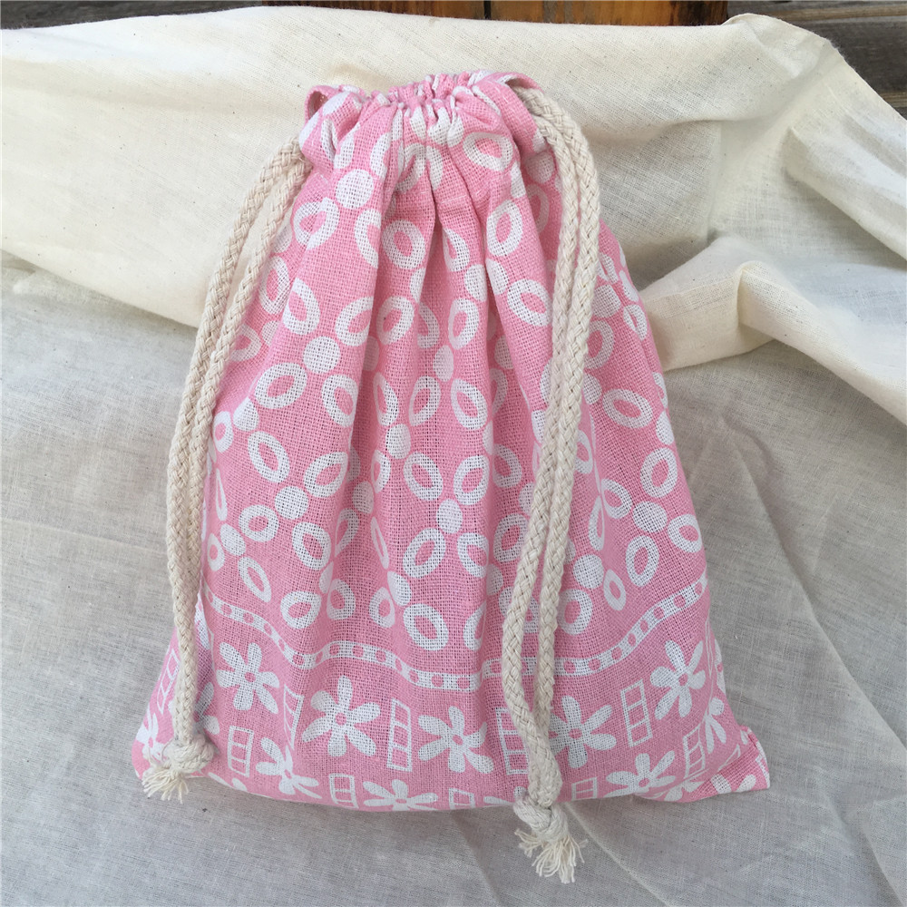 YILE Cotton Linen Drawstring Sorted Pouch Party Gift Bag Pink Geometry Flower 8914f