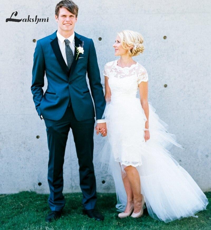 Exquisite Jewel Short Sleeve High Low Wedding Dresses Custom Made ...