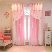 Customize Christmas Semi / Full shading Lace Pink Window Curtain Girl Bedroom Tulle Curtains Wedding Room for Living Room LC008