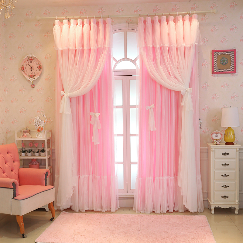 Customize Christmas Semi / Full shading Lace Pink Window Curtain Girl Bedroom Tulle Curtains Wedding Room for Living Room LC008-in Curtains from Home & Garden    1