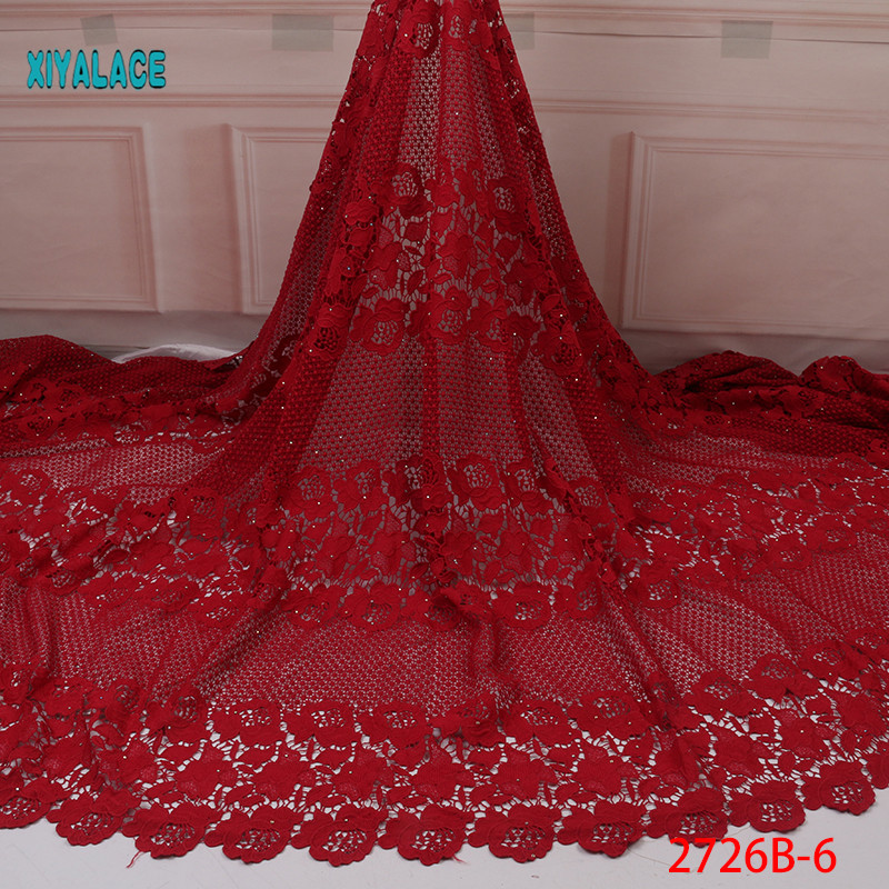 African Lace Fabric Beads Lace Fabric Embroidered Nigerian Net Laces Fabric Bridal 2019 High Quality French Tulle YA2726-6