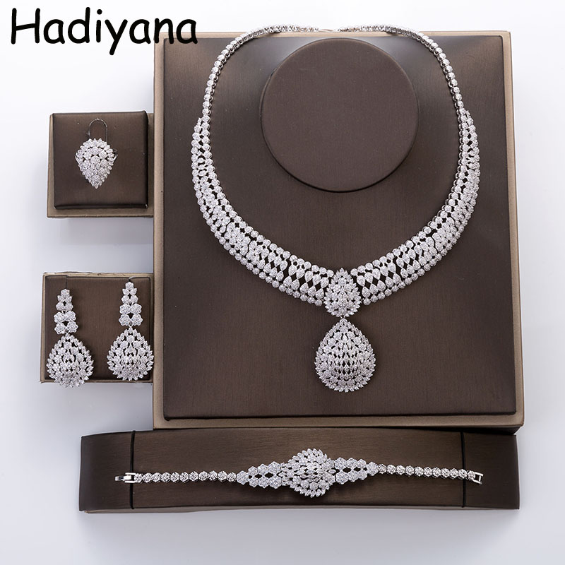 Hadiyana New Arrival Water Drop Wedding Jewelry Set With Shining Zincon Classical Necklace Bracelet Ring Earring 4pc Sets TZ8006 water drop rhinestone chain bracelet with toe ring