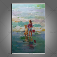 cheap oil painting Artist Handmade beach sea landscape Oil Painting Modern Abstract Pop Oil Painting For Living Room Decoration