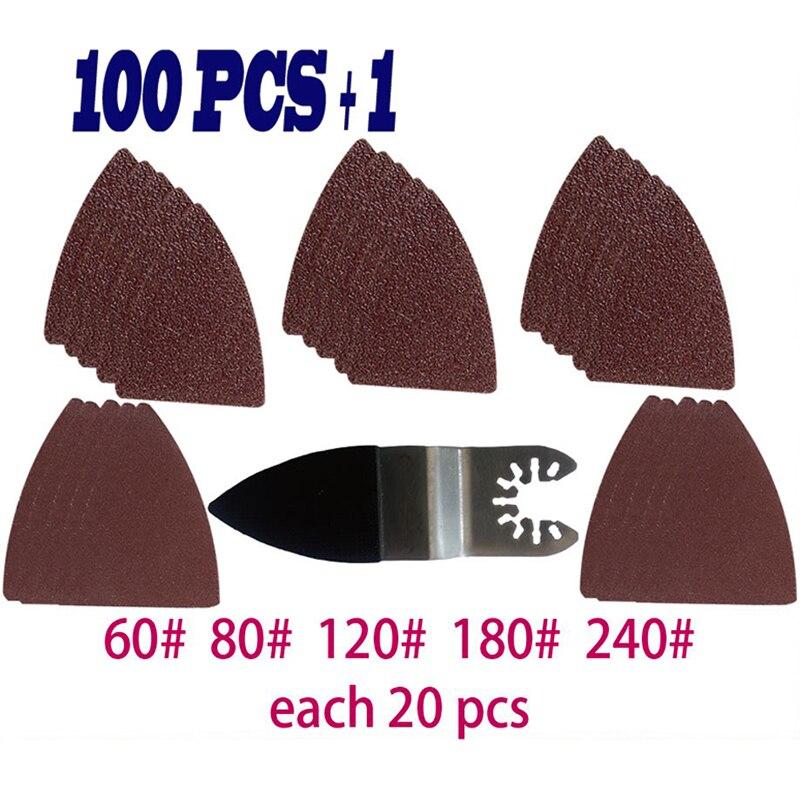 100 pcs pour Fein Bosch Multimaster outil oscillant feuilles triangulaires équipement ponceuse à doigt pièces de rechange Durable