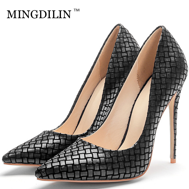 MINGDILIN Woman Heel Shoes Sexy Women's High Heels Shoes Pumps Plus Size 33 43 Black Pointed Toe Wedding Party Pumps Stiletto