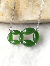 Natural green jasper silver pendant, marquise 4mm*8mm, 12mm*19mm for whole pendant size, best choice for summer skirt