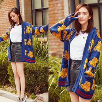 2016 Autumn And Winter New Korean The Same Style With Stars Printing Wild Knit Cardigan Sweater