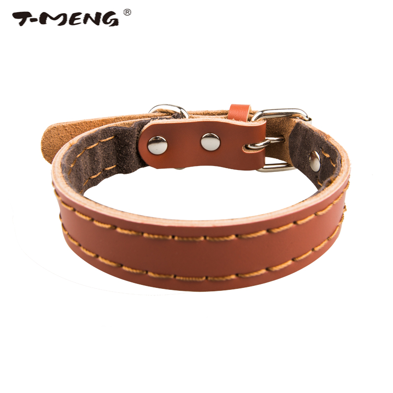 T-MENG Calidad Superior Zurriago Verdadero Collar de Cuero Collar de Perro Para