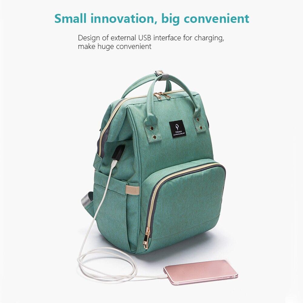 HTB15oCjbvjsK1Rjy1Xaq6zispXay Baby Diaper Bag With USB Interface Large Capacity Travel Backpack Nursing Handbag Waterproof Nappy Bag for Baby Care with 2 Hook