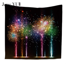 JaneYU Home Polyester Fabric Night Fireworks Tapestry Wall Hanging Throw Bohemian Door Curtain home decoration accessories woody door print wall decoration tapestry