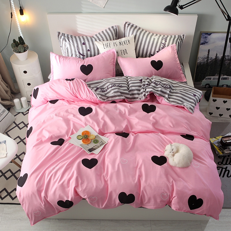 Bedding-Set Mixed-Color Double-Bed Duvet-Cover King-Queen Winter Full-Twin-Size Pink
