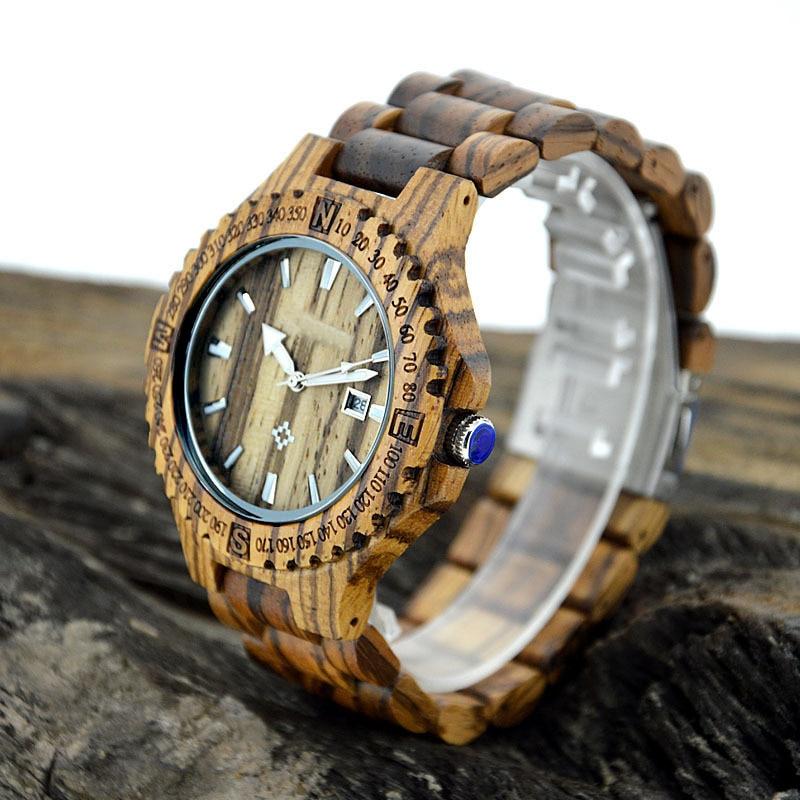 Reloj de pulsera de cuarzo de madera genuino correa de banda de - Relojes para hombres - foto 3