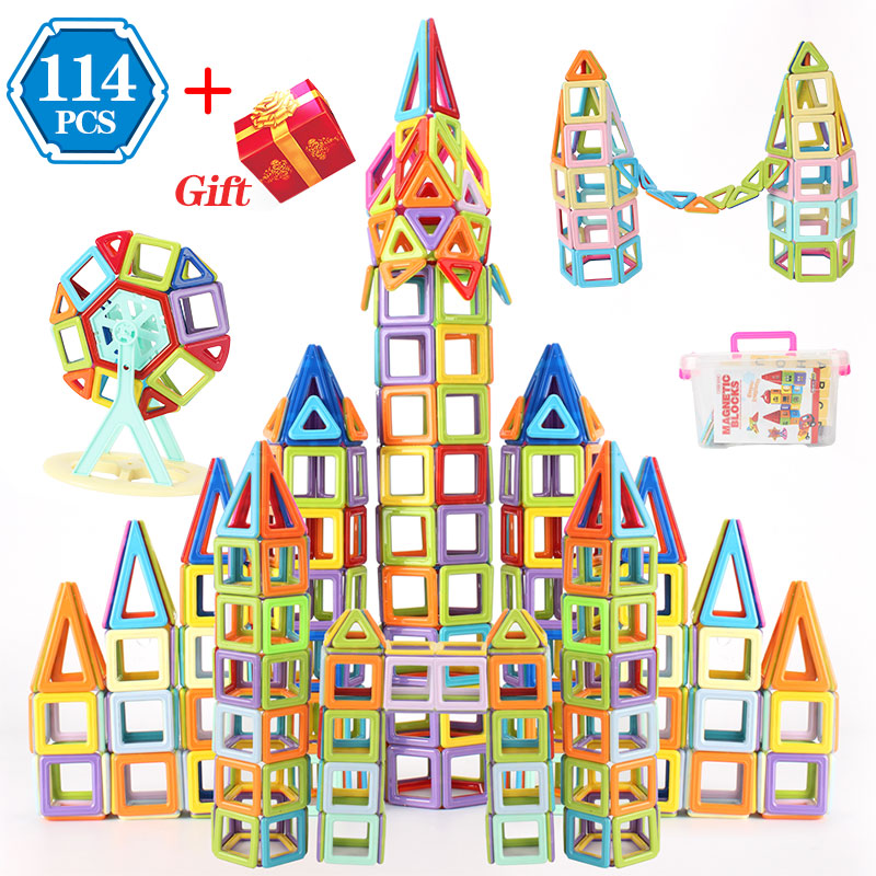 Magnetic Blocks Magnetic Designer Building Construction Toys Set Magnet Educational Toys For Children Kids Gift 114pcs To 196PCS 196pcs building blocks urban engineering team excavator modeling design
