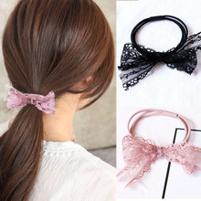 2018 New Arrival Pink Girls Handmade Women 1PC/2PCS Soft Hair Rope Comfortable Lace Bowknot Black Elasticity Korean Three Layer(China)