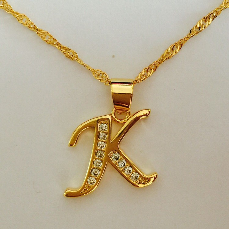 fashion hot name initial letter inlay cz diamond charms woman gold plated alphabet letter pendant