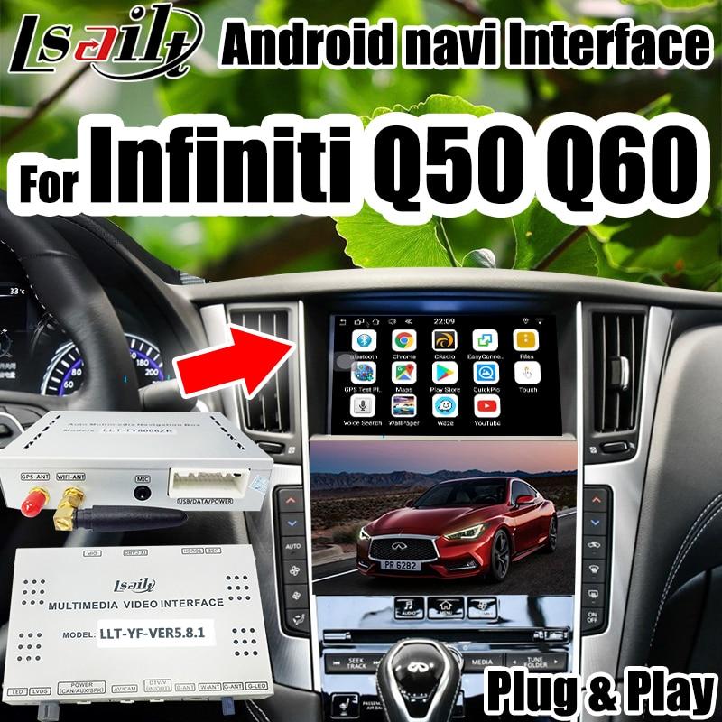 Android Interface De Vídeo de Navegação para 2016-2018 Infiniti Q50 Q60 com waze APP wi-fi Mirrorlink etc.