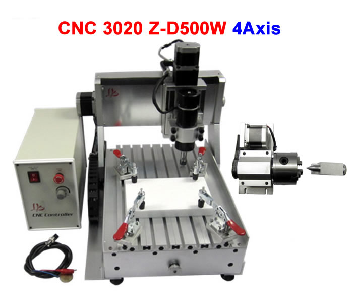 4 axis cnc engraver LYCNC3020Z-D500W milling machine for wood pcb plastic carving,already assembled & tested well cnc 5axis a aixs rotary axis t chuck type for cnc router cnc milling machine best quality