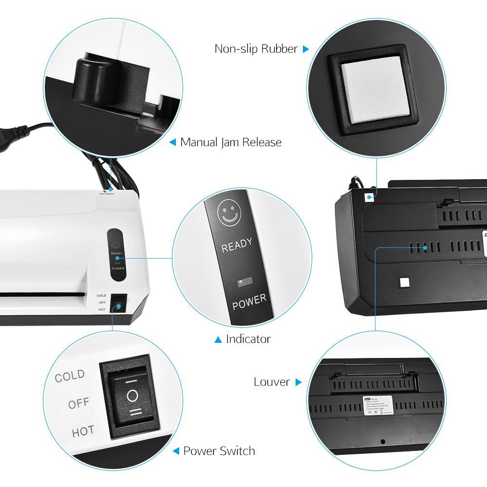 A4 Photo plastifieuse à froid chaud plastifieuse à vitesse rapide Film Plastificadora Machine à plastifier avec coupeur de bureau à domicile gratuit - 6