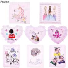 Prajna Unicorn Sew On Patches Fashion Girl Butterfly Stickers For Clothing Applique Flower Stripe Clothes T-shirt DIY