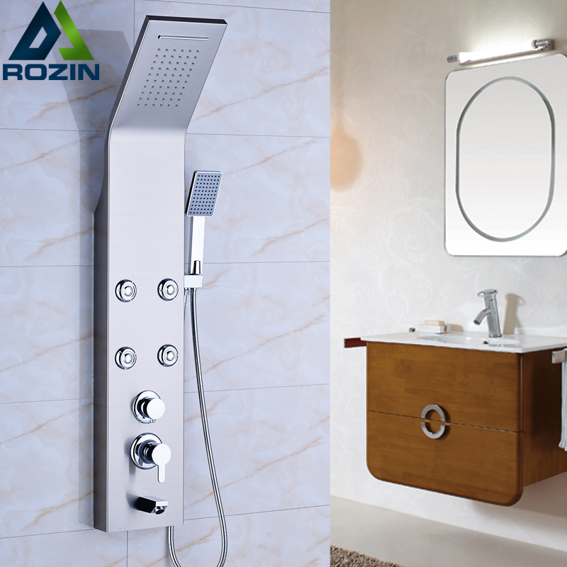 Brushed Nickel Shower Column Wall Hanger Body Massage Jets Waterfall Rain Shower Panel with Handshower brushed nickel thermostatic shower mixer panel wall mount stainless steel rain waterfall with massage jet shower column