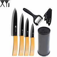 XYj Brand High Quality Black 8 Inch Kitchen Knife Stand Multi Functional Peeler Bamboo Handle 6