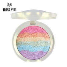 MISS YIFI Baked Prism Rainbow Highlighter for Face Shimmer Iluminador Maquiagem Bronzer & Highlighter Eyeshadow Makeup Palette