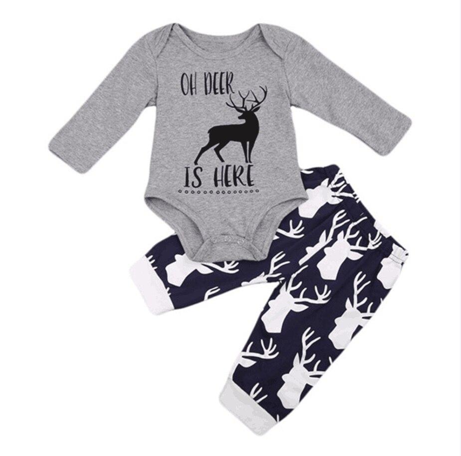Newborn Baby boys girls clothes 2Pcs Toddle girls clothing Tops Romper Pants Hat OH DEER Letter print Babys set roupa infantil