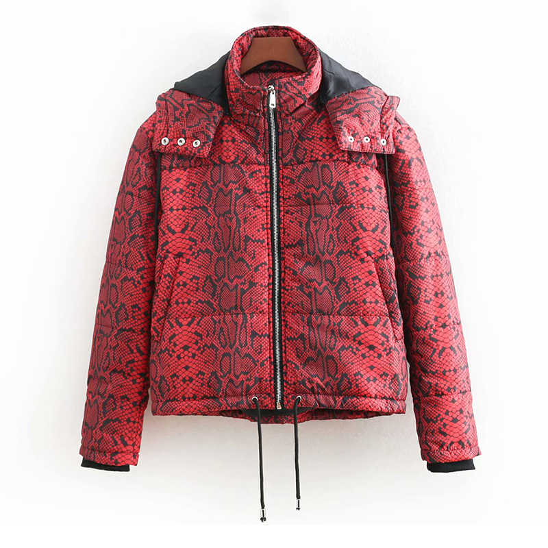 f9568cd048b 2018 Winter Red Snake Skin Jackets Women-s Stylish Animal Print Hooded  Puffer Coats Girls